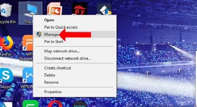 Nhấn để chọn Manage