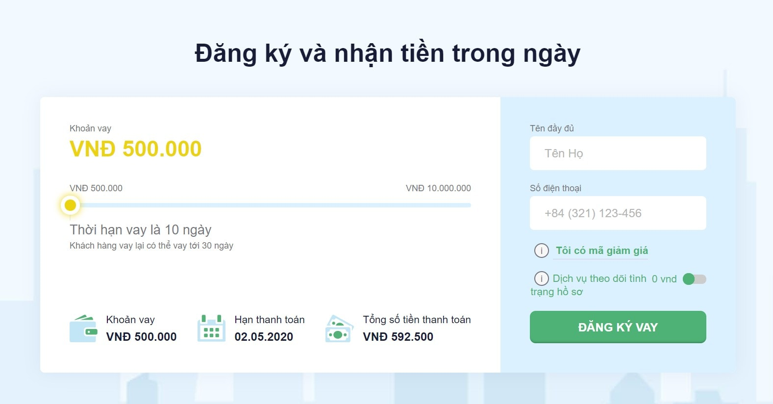 Senmo đưa ra các tiêu chí khá đơn giản khi khách hàng vay online